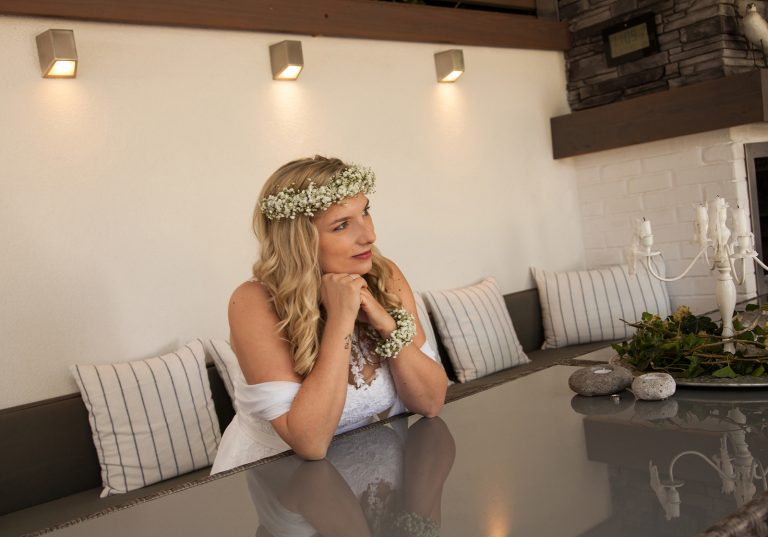 Hochzeitsfotografie Braut Blumenkranz